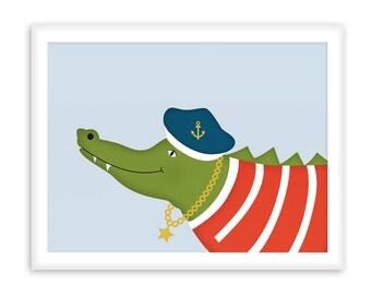 Poster Sailor Crocodile | Nautical  Poster | Wall Art Children+ Nursery | fresh + clear   |   Modern Scandinavian Style