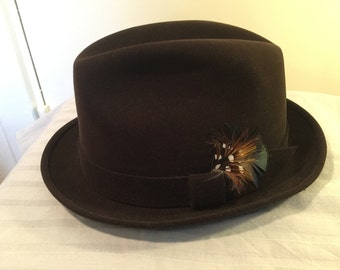 "Brown Hat Failsworth Made in England ""5 Star Quality Size 55(6 3/4)"