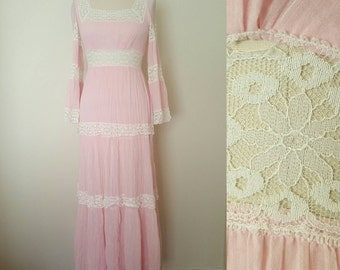GIANT SALE 1970s Pink Gauze & Lace Sun Dress