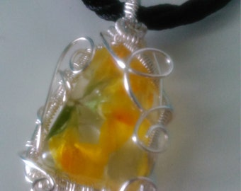 Wire Wrapped Yellow Flower Resin Pendant Necklace