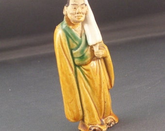 Antique Chinese Mudman With a Scroll Shiwan Pottery