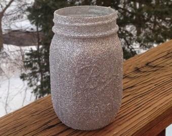 Silver glitter mason jars, sparkle centerpiece, mason jar centerpiece, wedding mason jars, silver mason jars