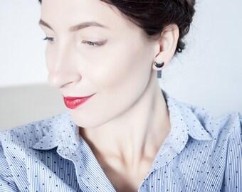 black porcelain earrings, crescent moon earrings, moon jewelry, crescent earrings, rectangle earrings, lightweight earrings, fashion jewelry