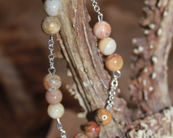 Healing Bracelet-Sterling Silver/Crazy Lace Agate