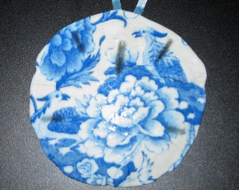 Blue & White China Sand Dollar Ornament