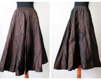 50s Circle Skirt, Brown Taffeta Skirt, Midi Skirt, Party Skirt, Saventino Italy, Italian 50s Skirt, Size EU42, US10