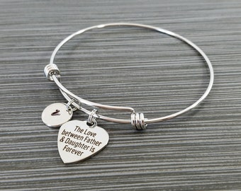 Father Daughter Bangle - Daughter Charm Bracelet - Expandable Charm Bracelet - Initial Bracelet - Daughter Bracelet - Gfit for Daughter