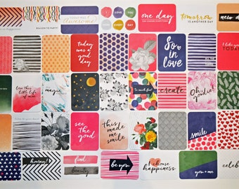 "MODERN Edition - Project Life Core Kit (Partial Set of 50 cards) from Becky Higgins; 3x4"" Pocket Cards / Journaling Cards"