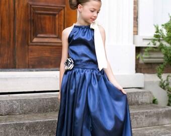 Navy Blue Satin Skirt Set, Flower Girl Skirt, Girls Blue Satin Outfit, Girl's Skirt