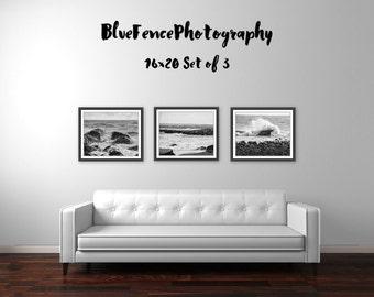 Set of 3 Photographs, Seashore Decor, Black and White Photography, Nature Print, Nautical Decor, Rocky Shore, Rough Surf, Wall Art