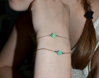 OPAL BRACELET // Opal Charm Bracelet - Kiwi Opal Ball Bracelet - Single Bead Bracelet - Tiny Opal Bead Bracelet - Opal Drop Bracelet
