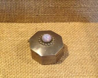 Vintage Taxco Silver Fire Opal pill box