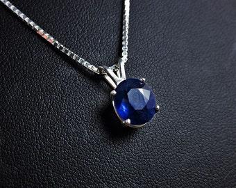 Genuine Sapphire Necklace, Sapphire Pendant, September Birthstone, Sapphire Solitaire, Wedding Anniversary, Gemstone Pendant, Royal Blue