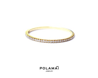 Diamond Eternity Ring 1.2mm 18k . Micro Pave Eternity Ring . Full or Half Eternity . Wedding Band Thin Diamond Ring. Yellow White Rose Gold