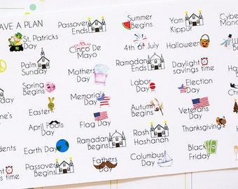 Planner Stickers Yearly Holiday Calendar for Erin Condren, Happy Planner, Filofax, Scrapbooking