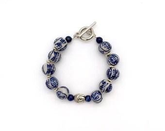 Buddha bracelet / blue and white bracelet / ceramic bead bracelet / elegant bracelet / Delft porcelain / blue bead bracelet / birthday gift