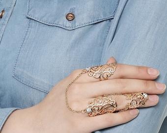 D'Designs Link Chain Finger Rings