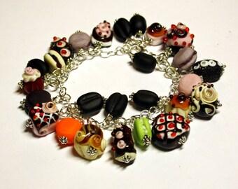 Handmade lampwork bracelet, glass bracelet, glass sweet bracelet, tasty bracelet,  glass coffee bracelet, glass pastry and cake bracelet
