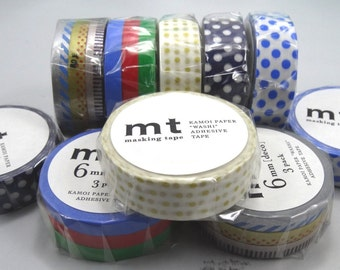 MT Washi Tape: 6mm x 10m set of 3 and 15mm x 10m