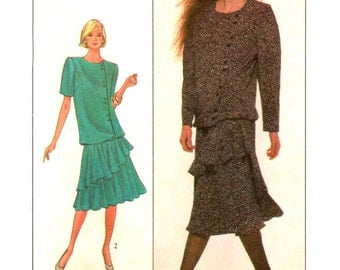 80's Simplicity 8861 Belle France Evening/Formal Blouson Dress with Two Tiered Skirt, Uncut, Factory Folded Sewing Pattern Size 10