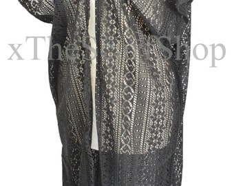 Black Crochet Long Kimono,Kaftan,Beach,Pool,Holiday,Festival Top,Womens,Girls,Coverup,Wrap,One Size,Goth,Boho,Caftan,Teen,Tasseled Top