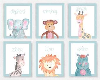 Set of 6 Safari animal prints, Pink and white nursery, Elephant picture, Baby animals nursery, Safari theme prints, girls nursery art SSFIVE
