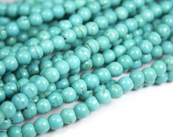 4mm Turquoise Gemstone Beads - 15inch Full strand - Round Turquoise