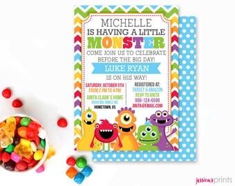 Monster Mongrels Baby Shower Printable Invitation, Custom Monster Invitation, Printable Monster Baby Shower Invitation, Fun Monster Party