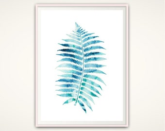 Nature Print, Leaf Print, Tropical Leaf Print, Blue, Print, Watercolor Leaves, Fern Print, Leaf Art, Nature, Fern, Home Decor