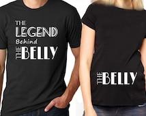 Couples Pregnancy Shirt - The Legend Behind the Bump- Couple's Shirt - Pregnancy Announcement - Reveal - Baby Annoucement T-Shirt Gift