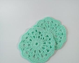 Set of 2 Crocheted Flower Pattern Seafoam Green Coasters - Trivets - Dishcloths - Kitchen Accessories - Home Decor