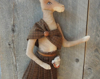 Scottish Hare Rabbit with Kilt Soft Sculpture Doll Primitive Duncan