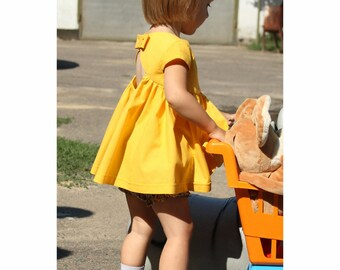 Baby girls' summer cotton clothing set - Infant party outfit - Yellow toddler open back dress and bubble bloomers  - 9M 12M 18M 2t 3t 4t