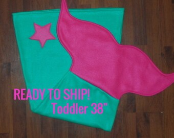 Mermaid Tail Blanket-*Teal with Pink Fin*-Toddler- Ready to Ship!