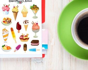 Cute Ice Cream Planner Stickers | Ice Cream Stickers | Popsicle | Sundae (S-130)