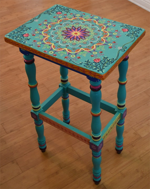 Hand Painted Solid Wood Accent Table Size 17 X By
