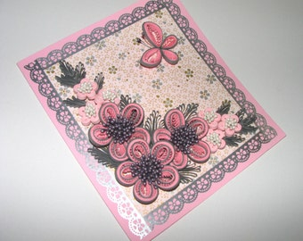 Pink Greeting card Congratulations card Birthday card Quilling Card Handmade card Paper pink flowers Thank you card 3d Greeting card