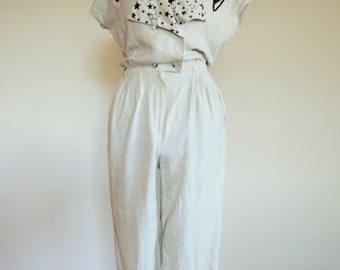 Vintage Womens Linen Jumpsuit / Romper / Light / Onepiece / Overall / One piece / 42 / stars