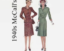 1940s Sewing Pattern - Vintage McCall 5102 - McCalls - Misses One-Piece Shirtwaist Dress & Fitted Jacket - Size 18 Bust 36 - 1940s Pattern