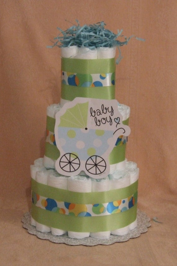Tier diaper cake blue boy baby buggy stroller carriage tiny