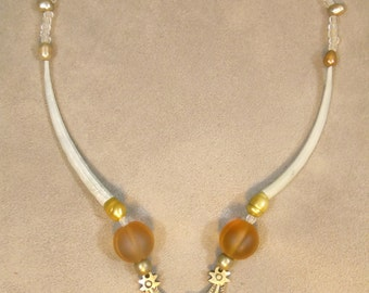 handmade necklace with bronze moon, surathani beads and golden pearls