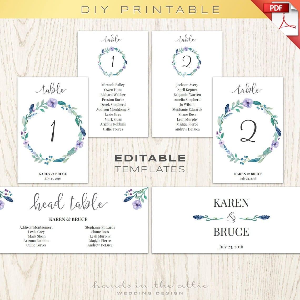 floral wedding table numbers printable template seating