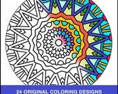 Mini Book Mandala Coloring Pages - PDF INSTANT DOWNLOAD - Adult Coloring - 24 Original Coloring Pages