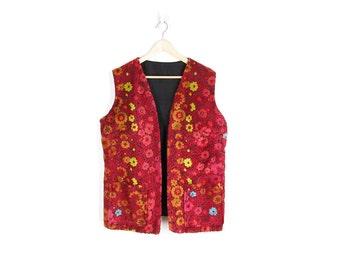 Vintage Brocade Vest -- 60s Floral Tapestry Vest -- Boho Hippie Vintage -- Womens L