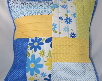 Quilted blue and yellow pillow sham