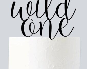 Wild One Wedding Cake Topper, Monogram Cake Topper A1058