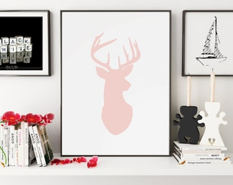 Deer Decor, Deer Poster, Deer Print, Deer, Deer Art, Deer Wall Art, Deer Silhouette, Deer Wall Decor, Wall Art, Wall Prints, Printable Art