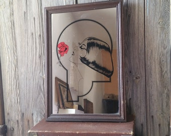 """Vintage Reverse Painted Mirror  -  French Vintage Mirror 1930s Design """"Lady with a Rose"""""""