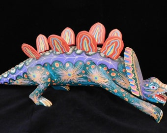 Large Oaxacan dinosaur-- colorful Mexican folk art signed by artist