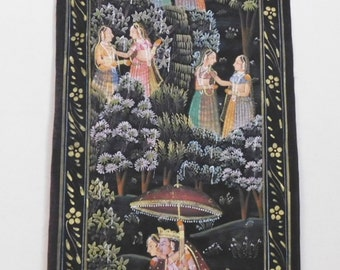 Vintage Indian silk painting with gilding--women in a garden with Krishna